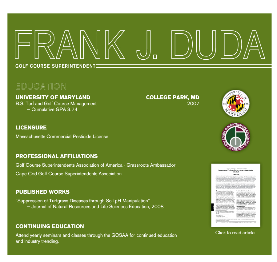 Frank J Duda Golf Course Superintendent